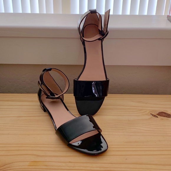 J. Crew Shoes - J. Crew black patent leather ankle strap sandal